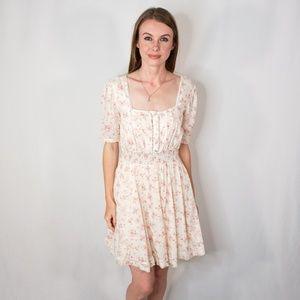 FREE PEOPLE Boho Mini Ivory Floral Dress